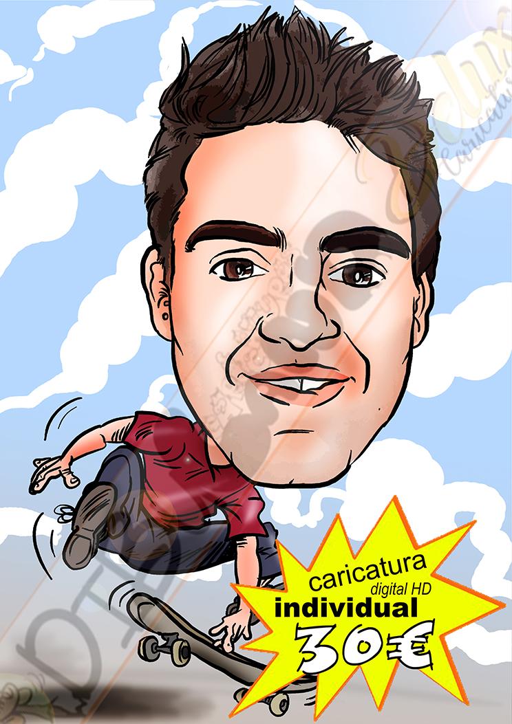 Caricatura personalizada individual cuerpo entero detalles afición a color formato digital alta resolución