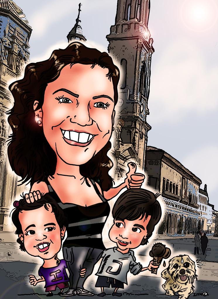 Caricatura de adulto + 2 niños, a color: 30€
