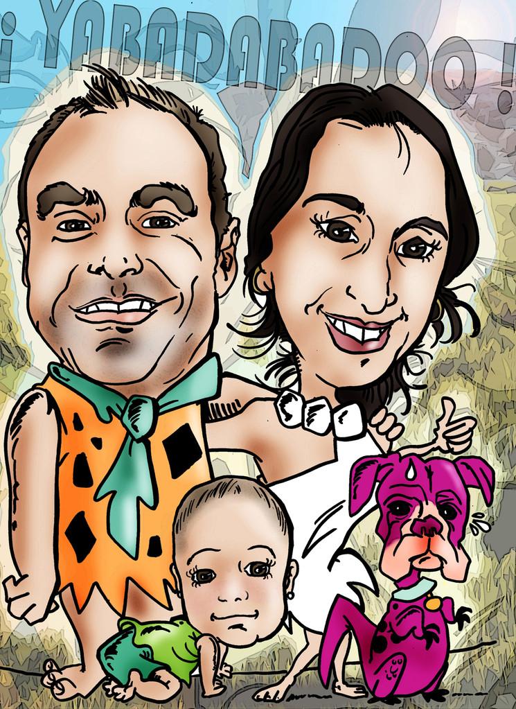 Caricatura de pareja + niño + mascota a todo color: 50€