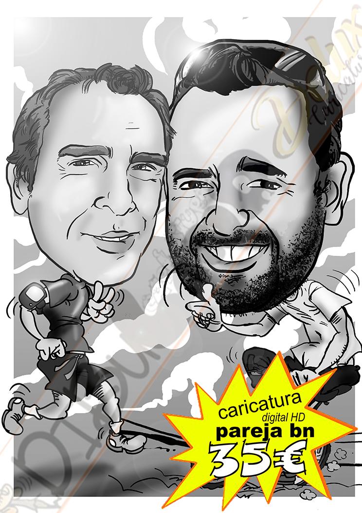 Caricatura pareja blanco y negro cuerpo entero detalles personalizados hobbye afición