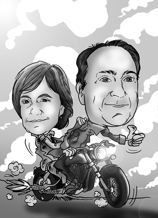 Caricatura de pareja + vehículo, en blanco y negro por 35€