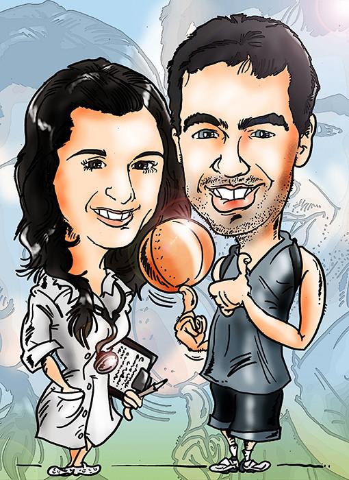 Caricatura personalizada de pareja, a color: 40€