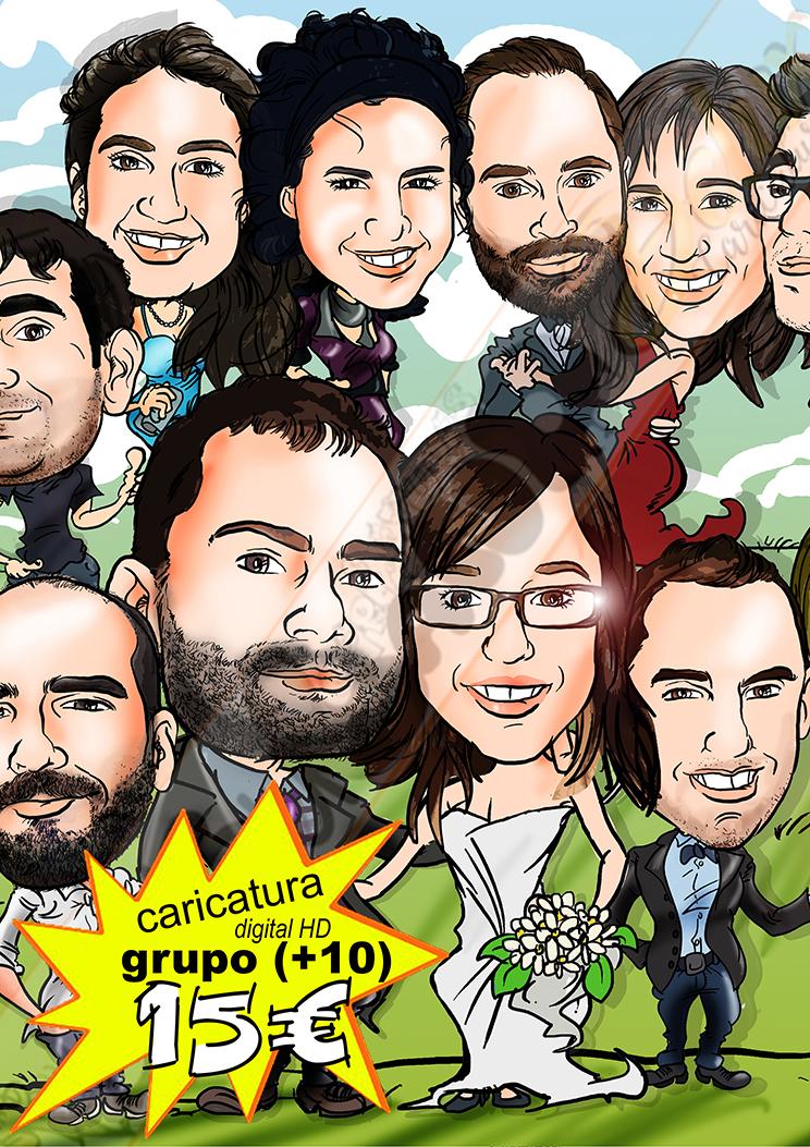 Caricatura grupo oferta especial cuerpo entero color detalles personalizados