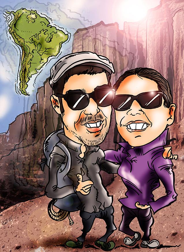 Caricatura personalizada de pareja, con todos los detalles, a color, por tan solo 40€