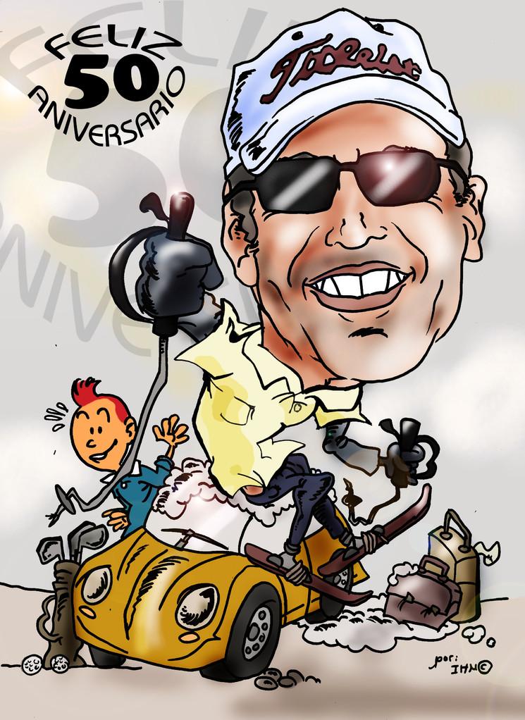 Caricatura individual + vehículo a todo color: 25€