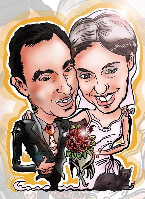Caricatura de pareja personalizada con todos los detalles: 40€