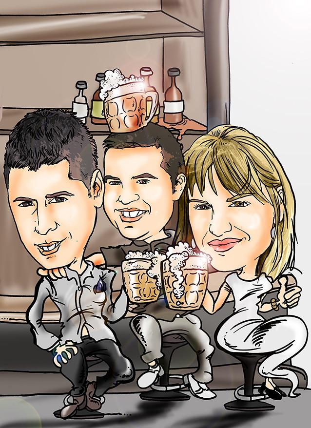 Caricatura de grupo, tres personas a todo color: 55€
