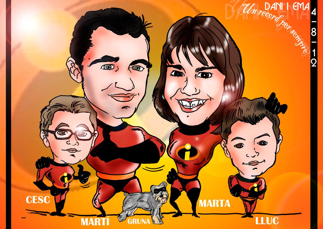 Caricatura de grupo de 2 personas + 2 niños personalizada como la del ejemplo: 50€