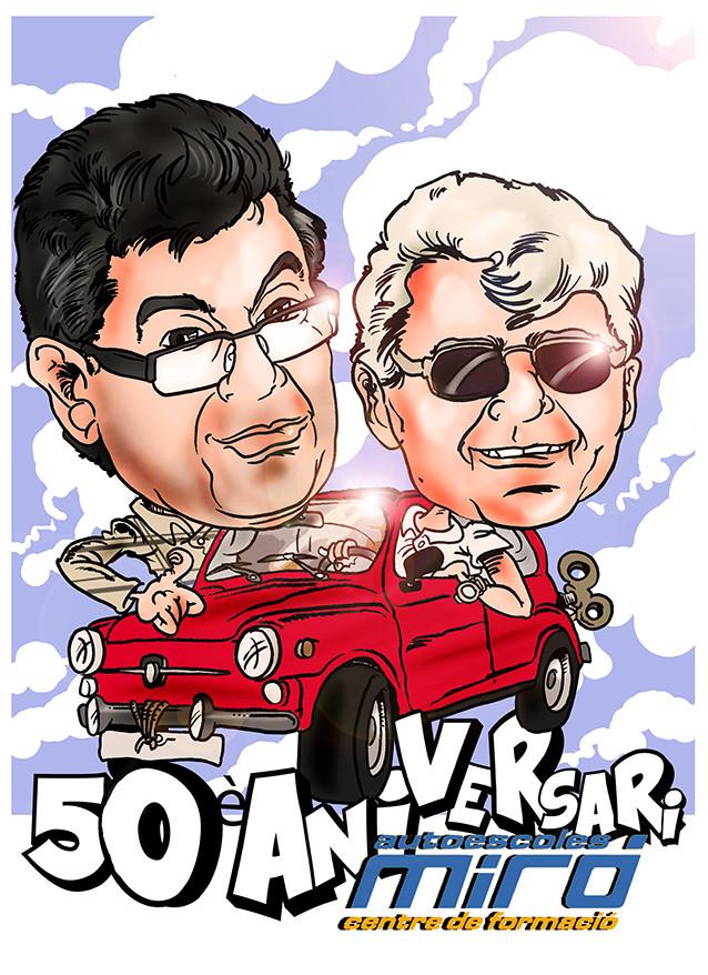 Caricatura diseño especial peronalizado dos personas + vehículo: 45€