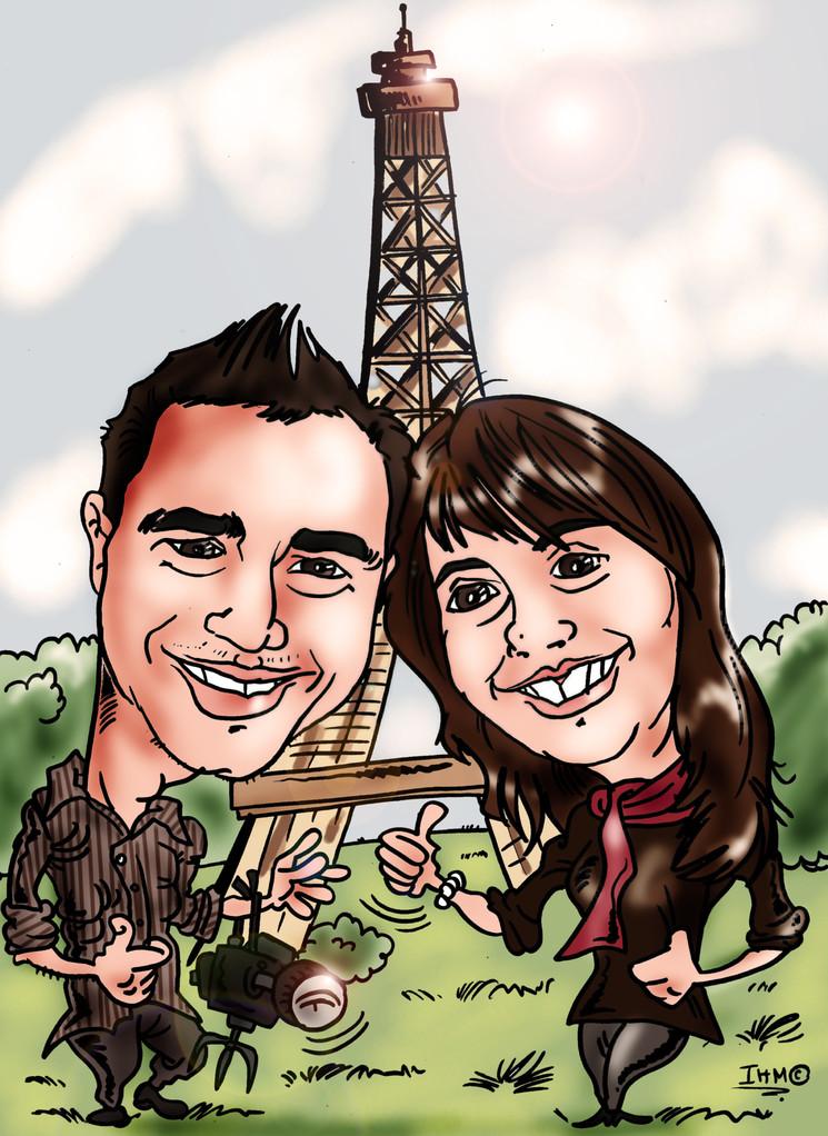 Caricatura de pareja con fondo personalizado, por tan solo 45€