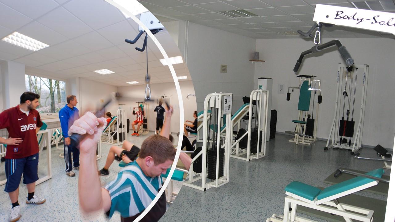 Neben einer 3-Fach Turnhalle verfügen wir auch über einen Fitnessraum für den Sportunterricht