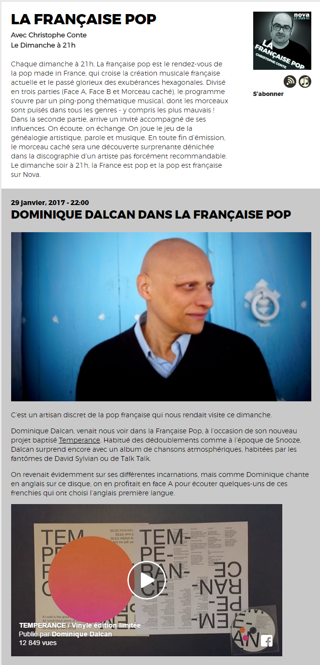 LA FRANCAISE POP - RADIO NOVA - 29 Janvier 2017 (cliquer pour écouter l'émission)