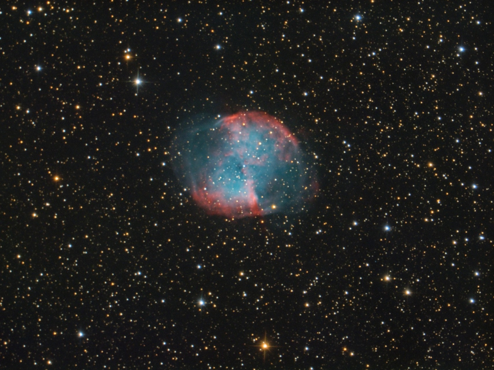 "M 27, TS RC8"",  Astro Physics Reducer, Atik 428color, Baader Neodymium Filter, 50x300s"