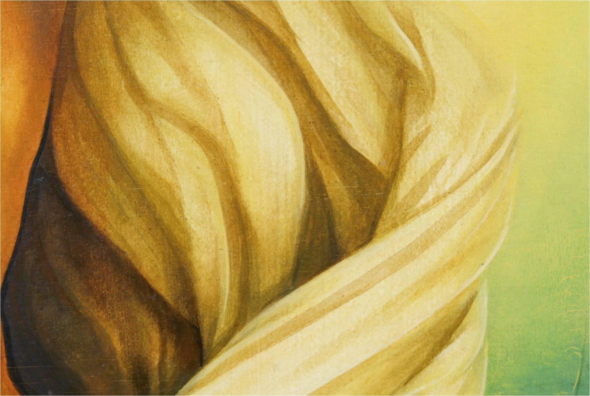 Und mit welchem Schwung steigt Jesus aus dem Grab! Die Tücher, in die Jesus eingewickelt war, verdrehen sich. Sie fallen von ihm ab. Sie betonen die Bewegung, die Jesus macht: aus dem aus dem Grab ans Licht, aus dem Tod ins Leben.