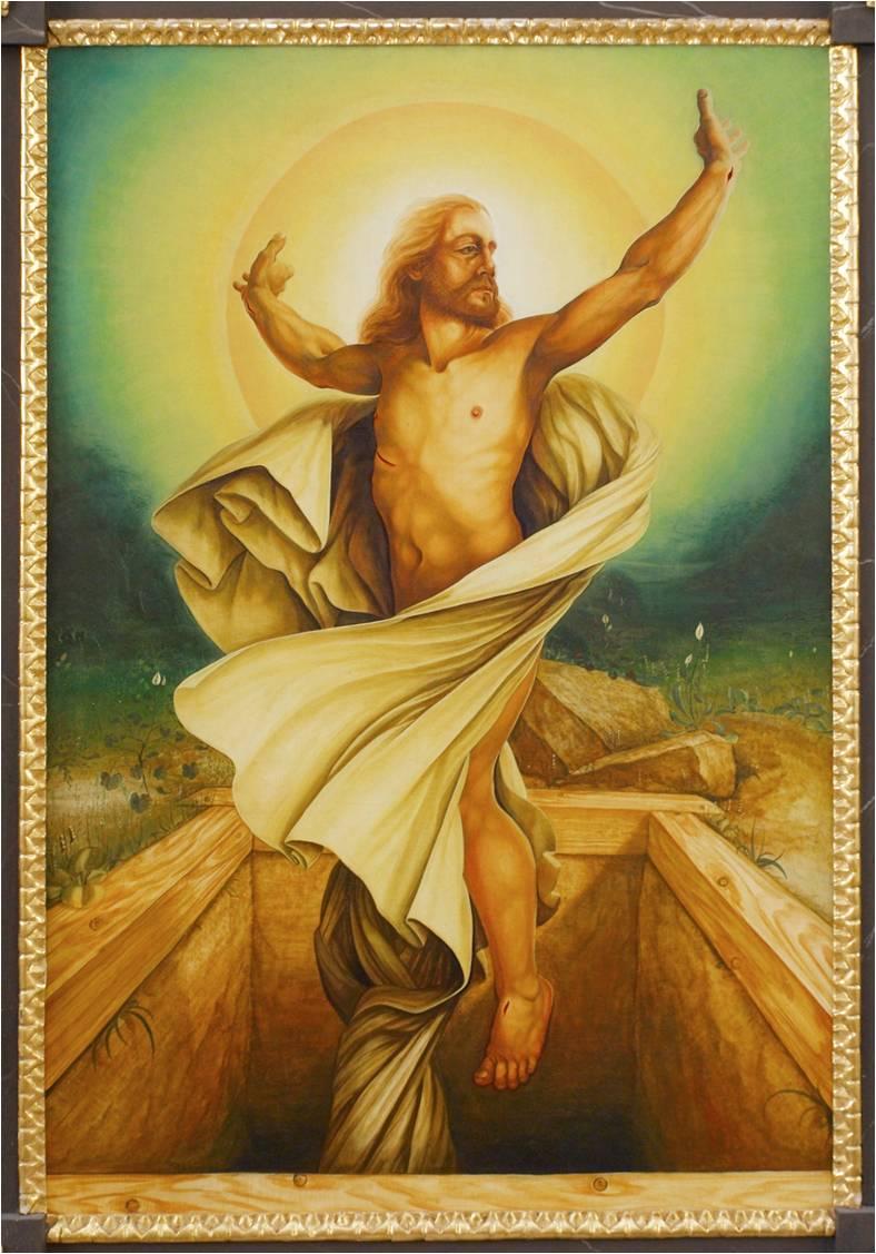 Viele von euch haben das Rätsel sicher schon gelöst. In unserer Kirche blühen Blumen und es scheint die Sonne. Immer, das ganze Jahr hindurch. Zumindest auf unserem Altarbild. Vor 40 Jahren hat der Künstler Gerhard Gloser dieses Auferstehungsbild gemalt.