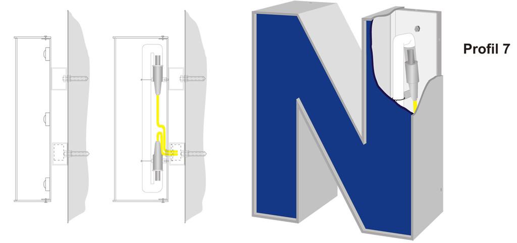 Profil 7 | Vollreliefbuchstabe aus Acrylglaszarge, Front ebenfalls Acrylglas, in die Zarge umlaufend eingelassen.  Ausleuchtung durch LED oder Neonglas.