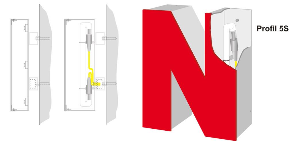 Profil 5s | Vollreliefbuchstabe aus Aluminium mit Acrylglasfront, welche auf die Zargen aufgesteckt wird.  Ausleuchtung durch LED oder Neonglas.