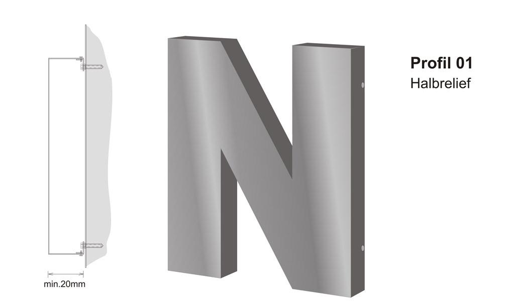 Profil 01 | unbeleuchtete Halbreliefbuchstaben aus Aluminium oder Edelstahl