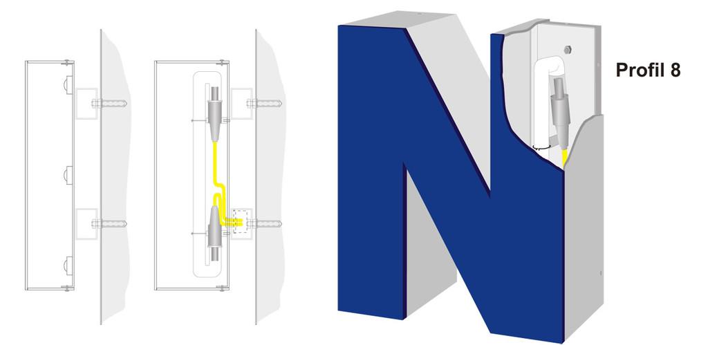 Profil 8 | Vollreliefbuchstabe aus Acrylglas.  Ausleuchtung durch LED oder Neonglas.