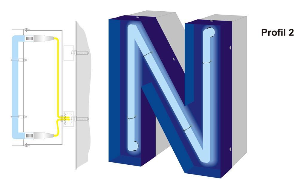Profil 2 | wie Profil 1 jedoch mit Blendkante für einen besseren Leuchteffekt
