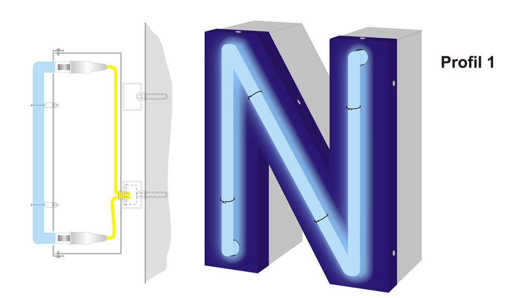 Profil 1 | mit aufliegendem Neon beleuchtete Aluminium Vollreliefbuchstaben