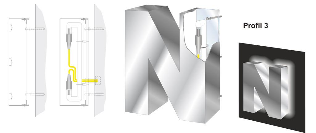 Profil 3 | Vollreliefbuchstabe aus Aluminium oder Edelstahl für Schatteneffekt mit LED oder Neon ausgeleuchtet