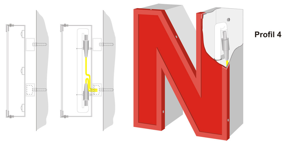 Profil 4 | Aluminiumzarge und -rückwand sowie Rahmen, Front aus Acrylglas. Ausleuchtung durch LED oder Neonglas.