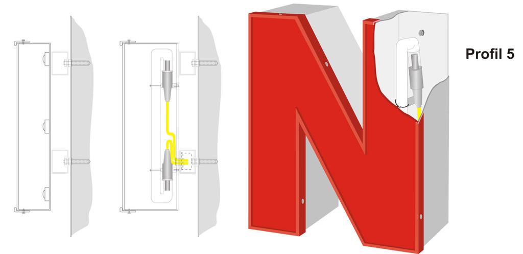 Profil 5 | Vollreliefbuchstabe aus Aluminium mit Acrylglasfront und Kunststoffumleimern. Ausleuchtung durch LED oder Neonglas.