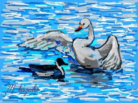 ↑絵をクリックすると白鳥の揺れ画像がご覧頂けます