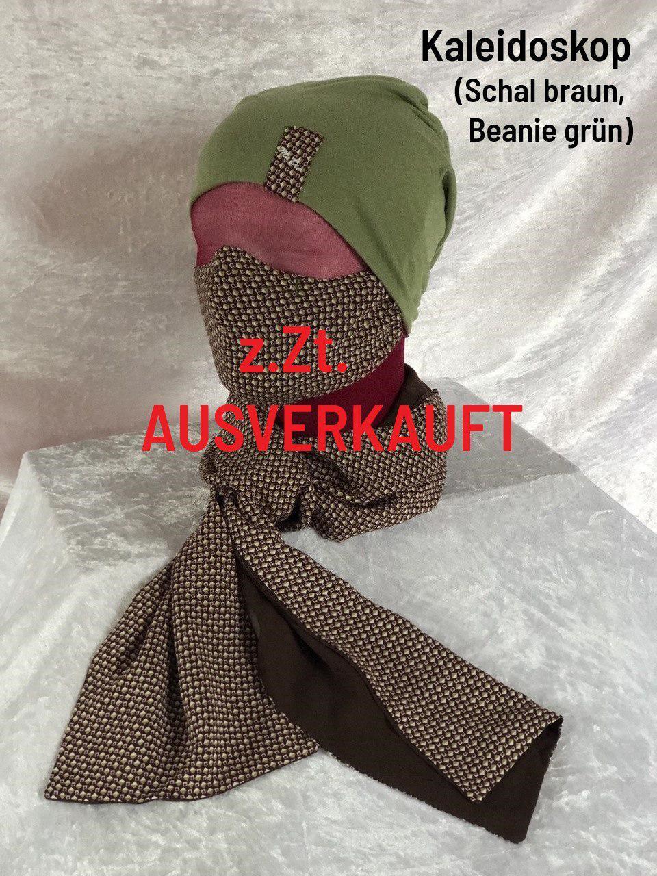 G - Maske + Schal braun + Beanie grün