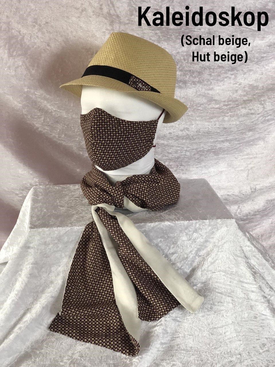 F2 - Maske + Schal beige + Hut beige