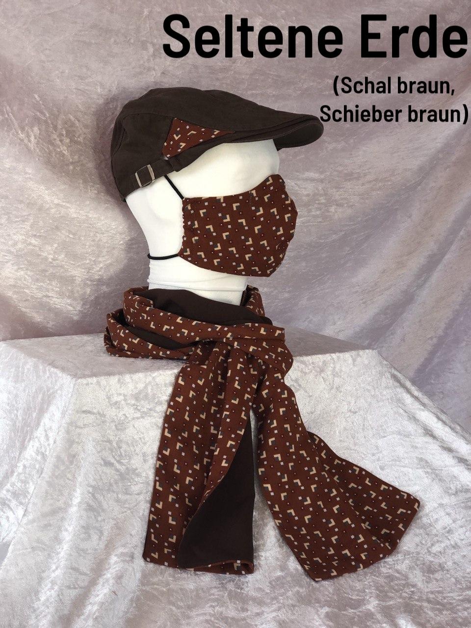 B2 - Maske + Schal + Schieber braun