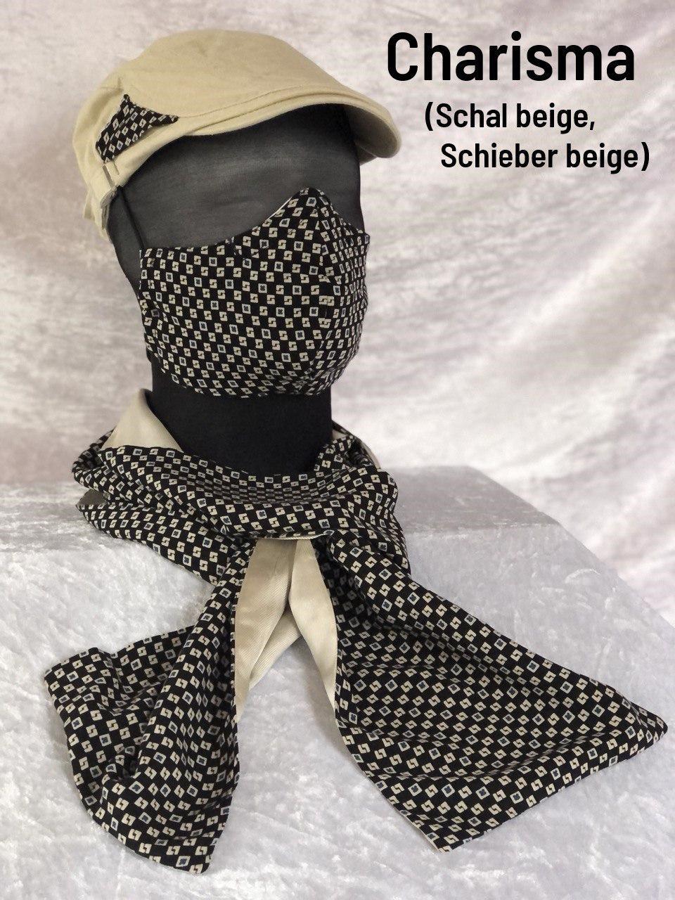 B2 - Maske + Schal beige + Schieber
