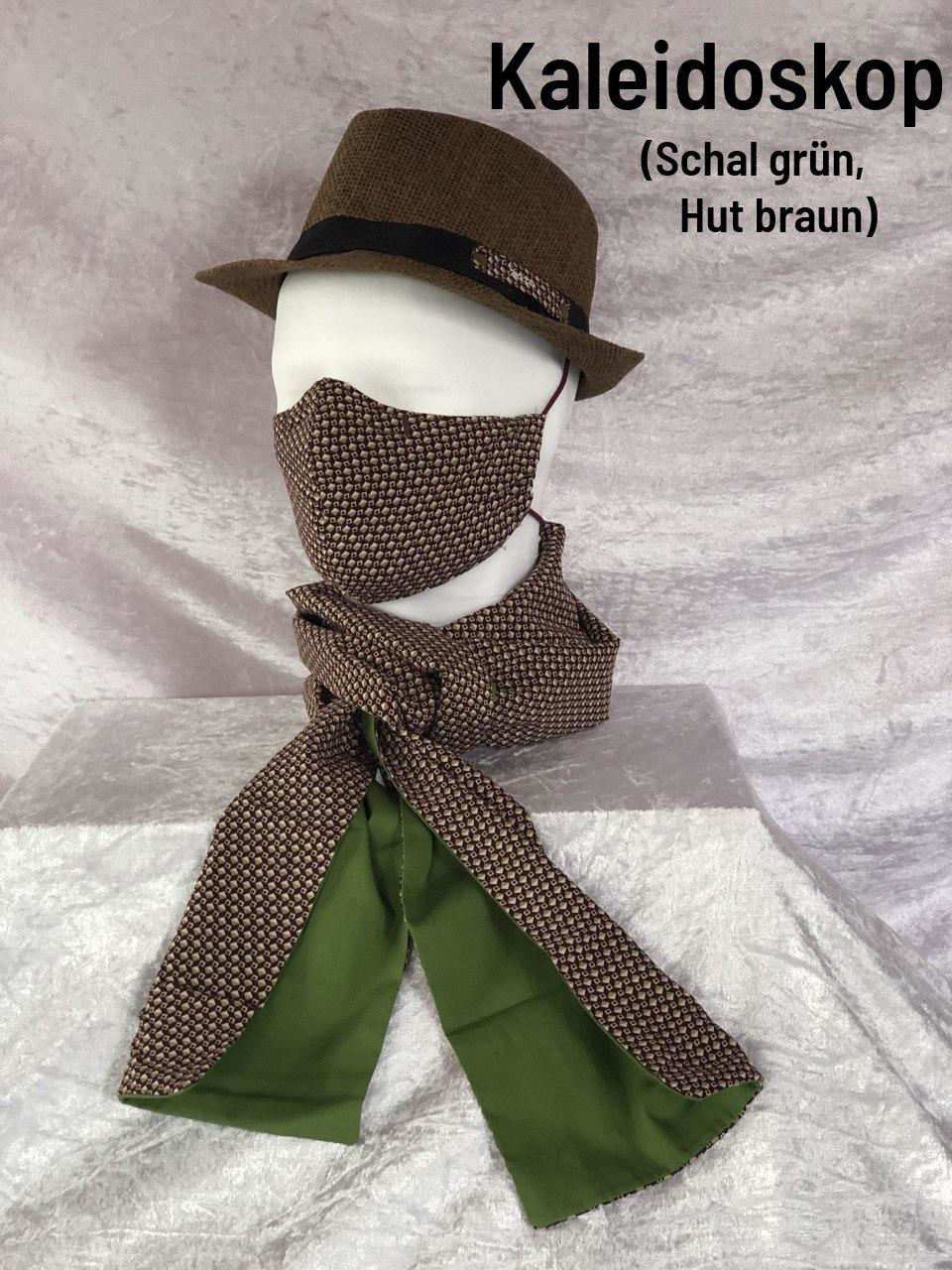 F4 - Maske + Schal grün + Hut braun
