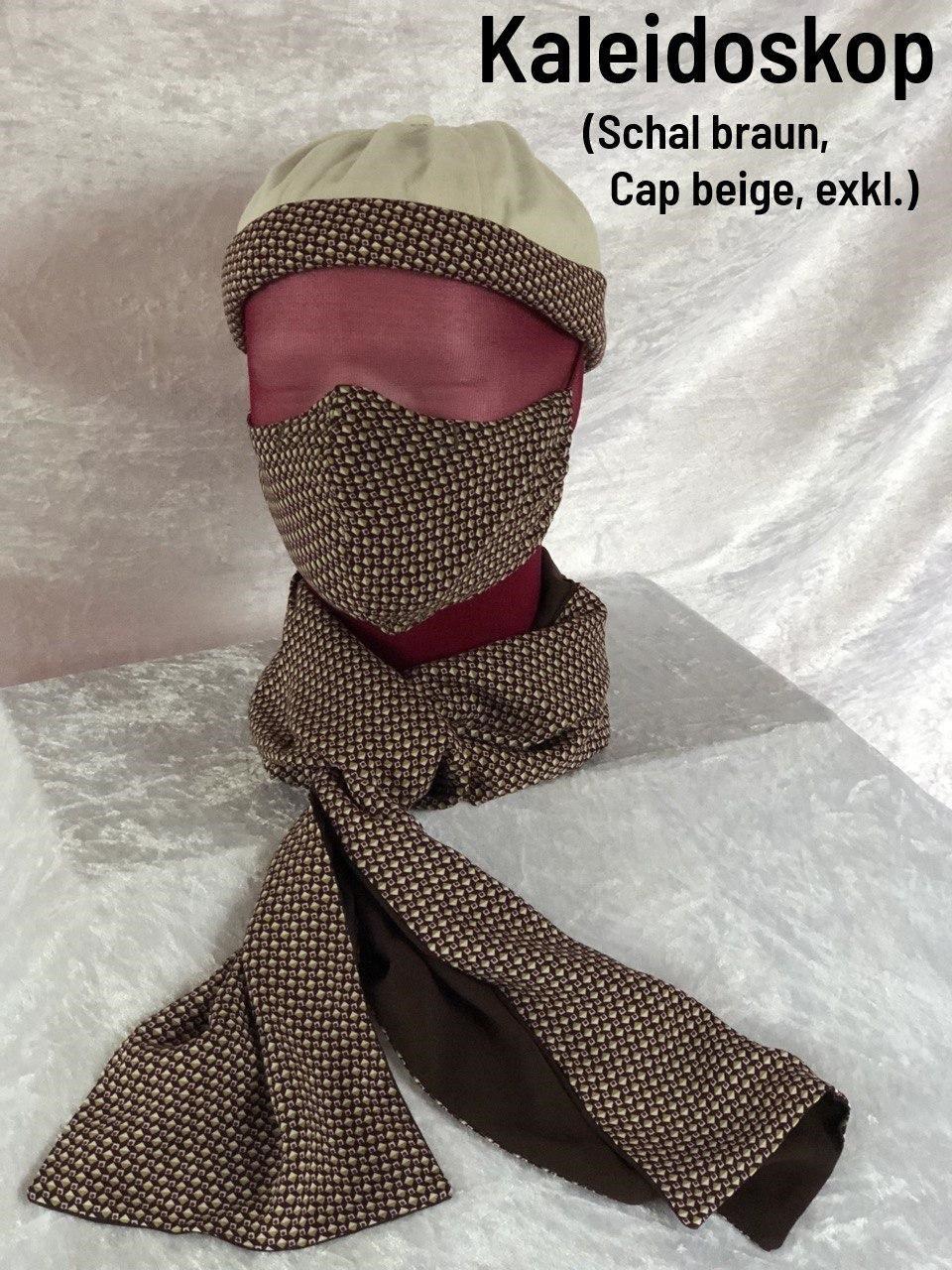 C - Maske + Schal braun + Cap beige exklusiv