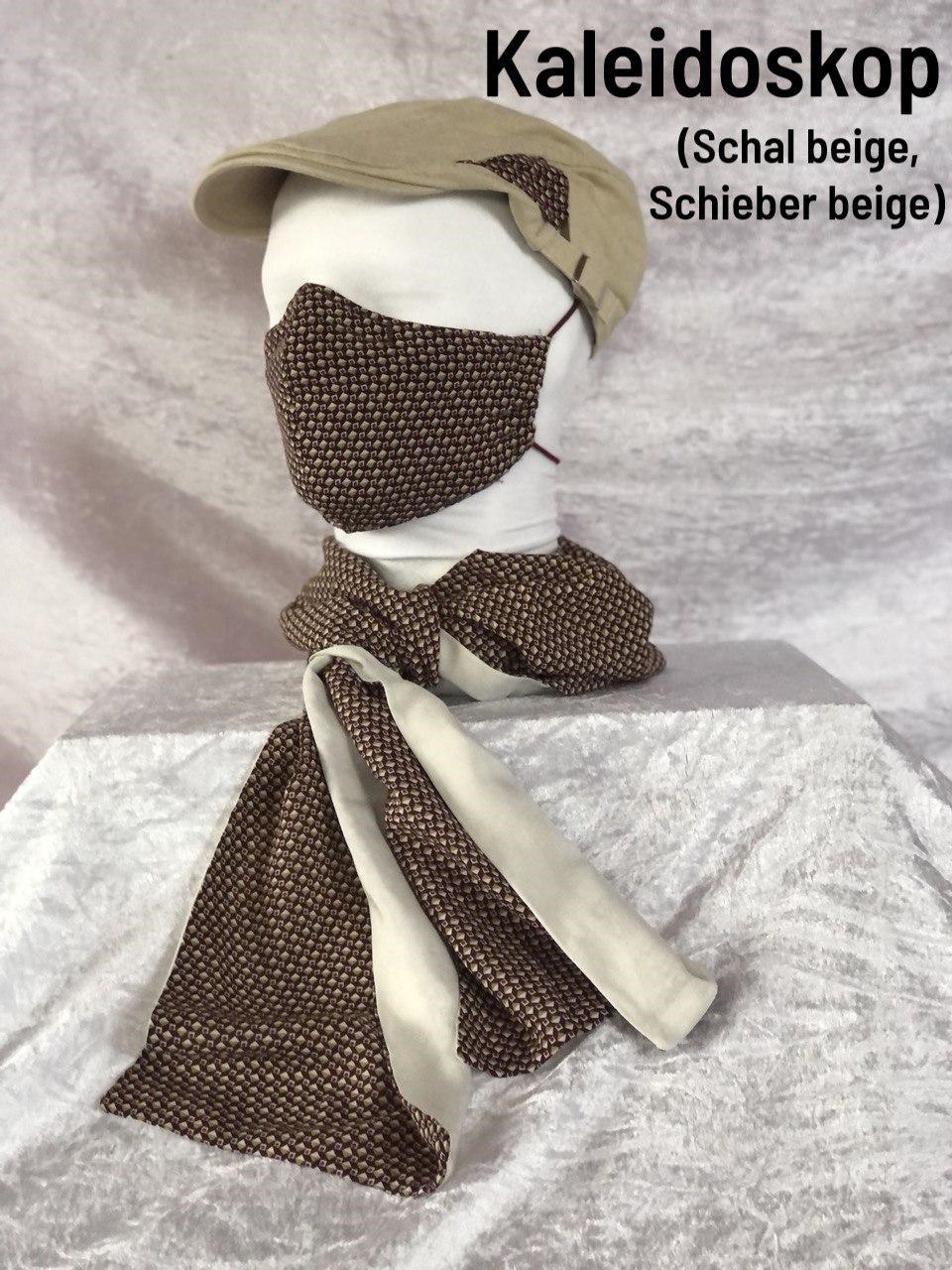B1 - Maske + Schal beige + Schieber beige