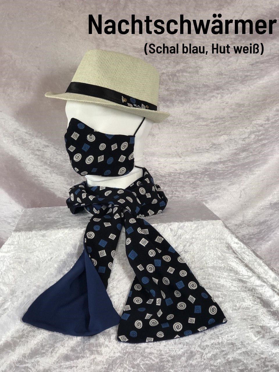 F2 - Maske + Schal blau + Hut beige