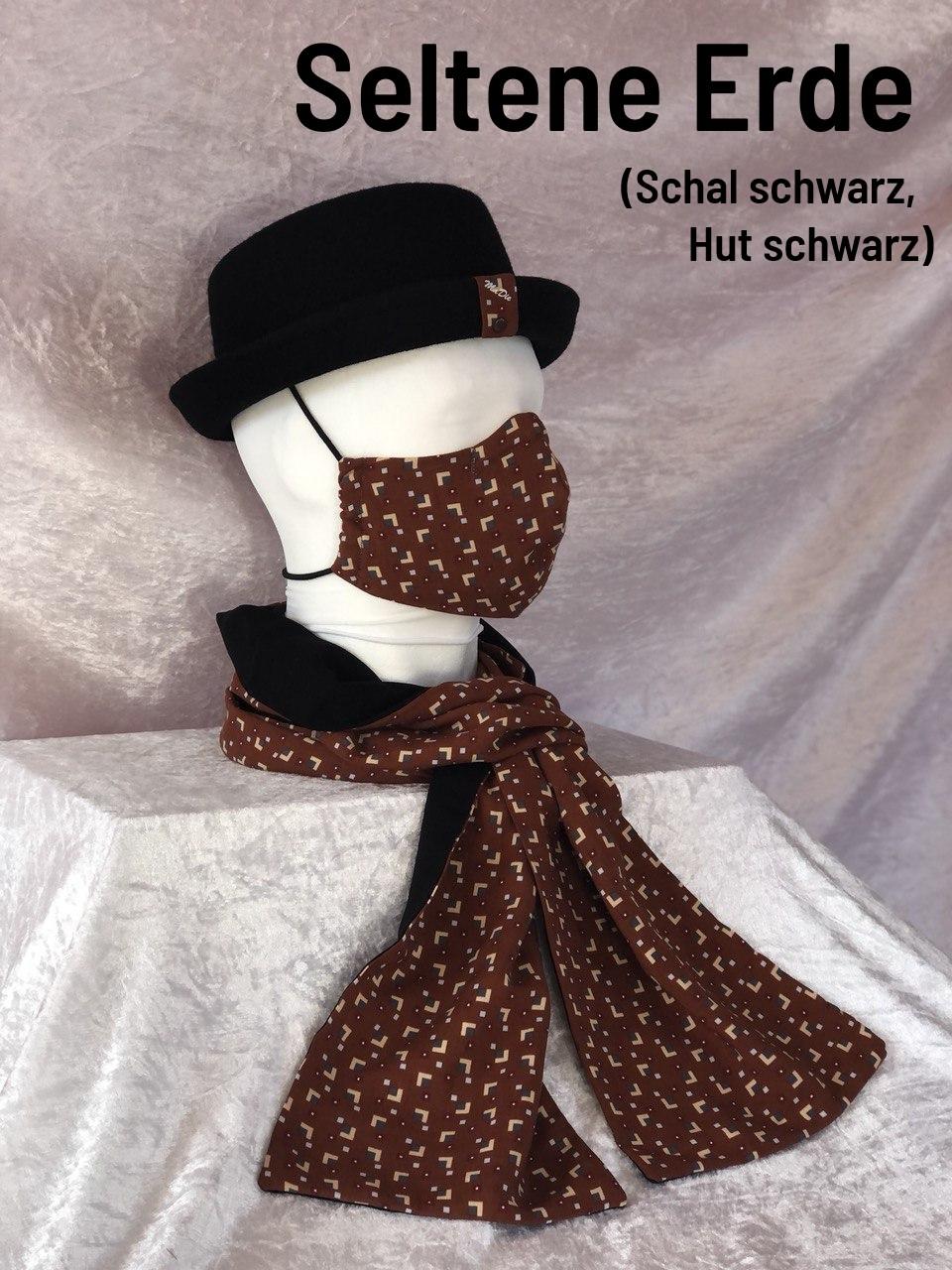F1 - Maske + Schal + Hut schwarz