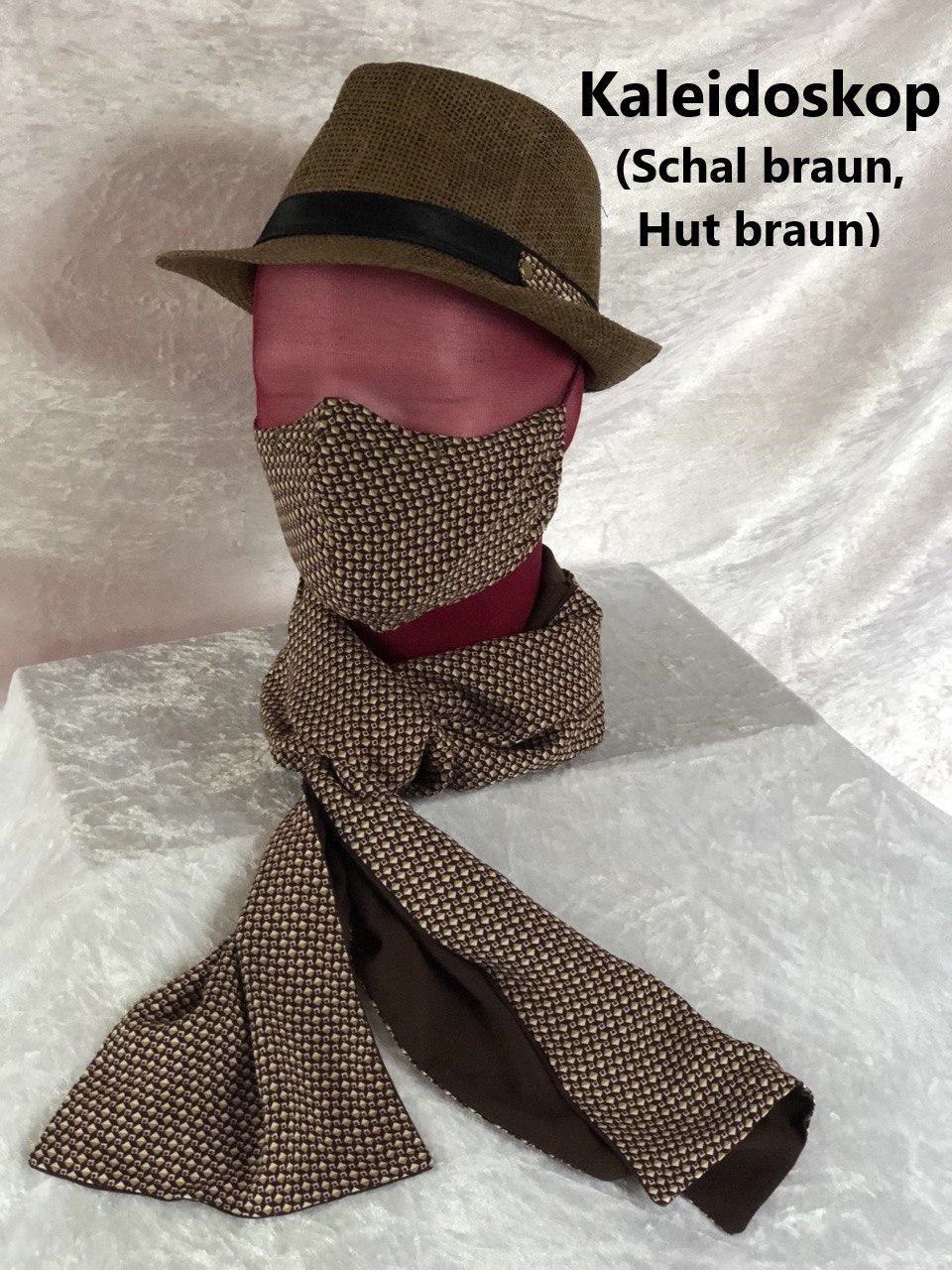 F3 - Maske + Schal braun + Hut braun