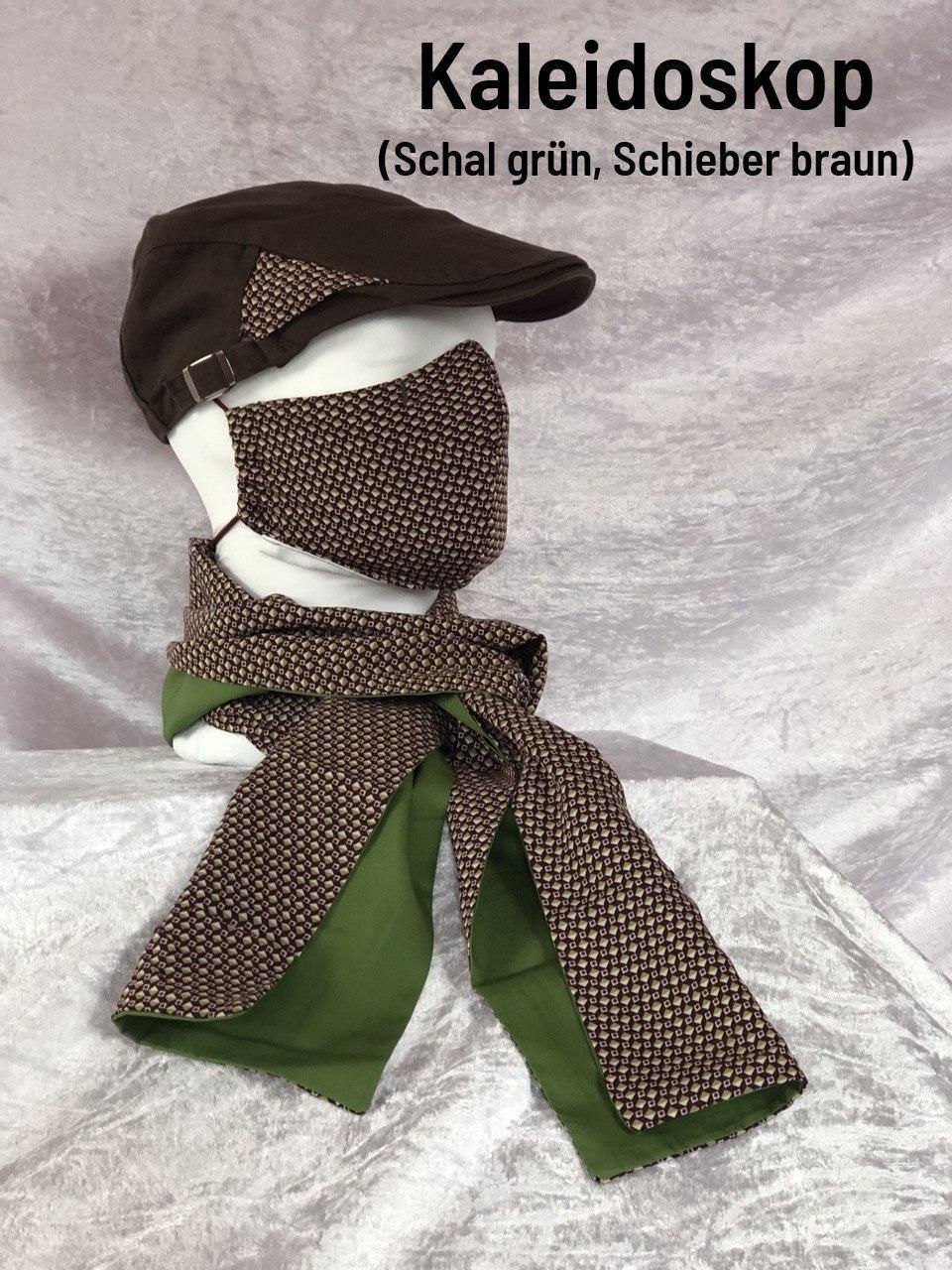 B6 - Maske + Schal grün + Schieber braun