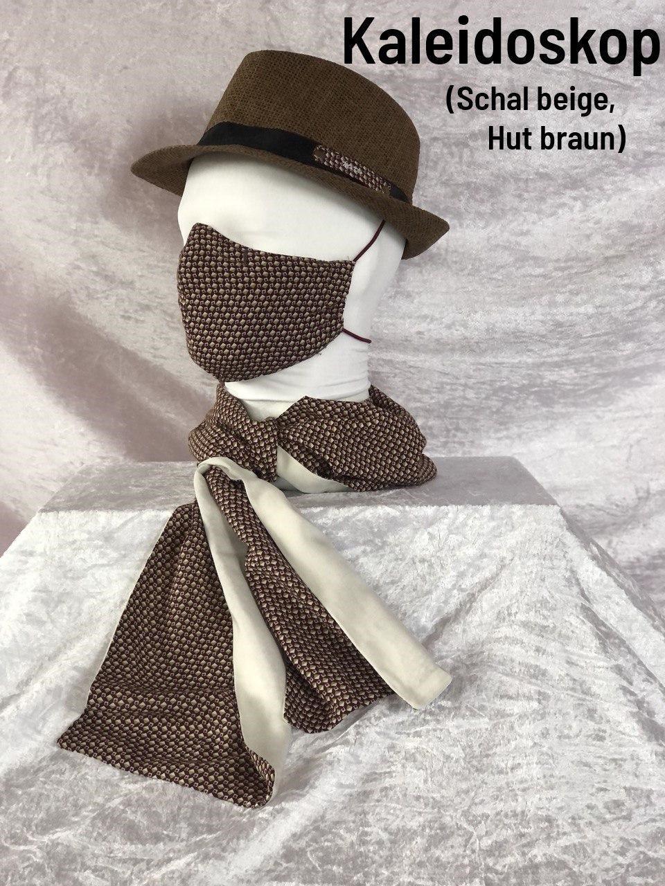 F1 - Maske + Schal beige + Hut braun