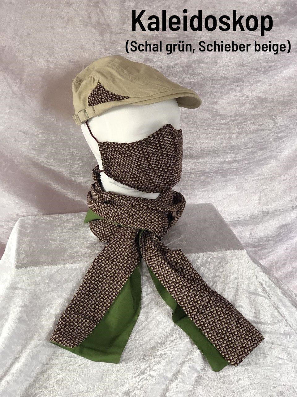 B4 - Maske + Schal grün + Schieber beige
