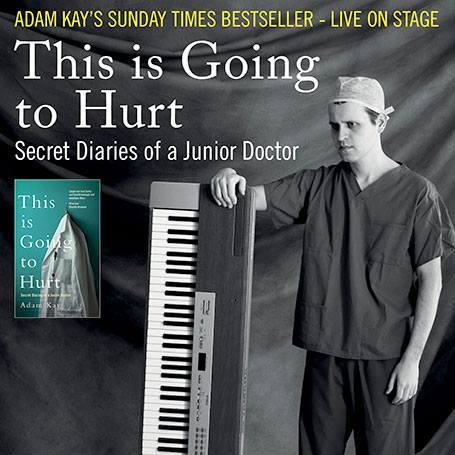 Adam Kay performing at the Millgate Arts Centre in Delph, 23 June 2018