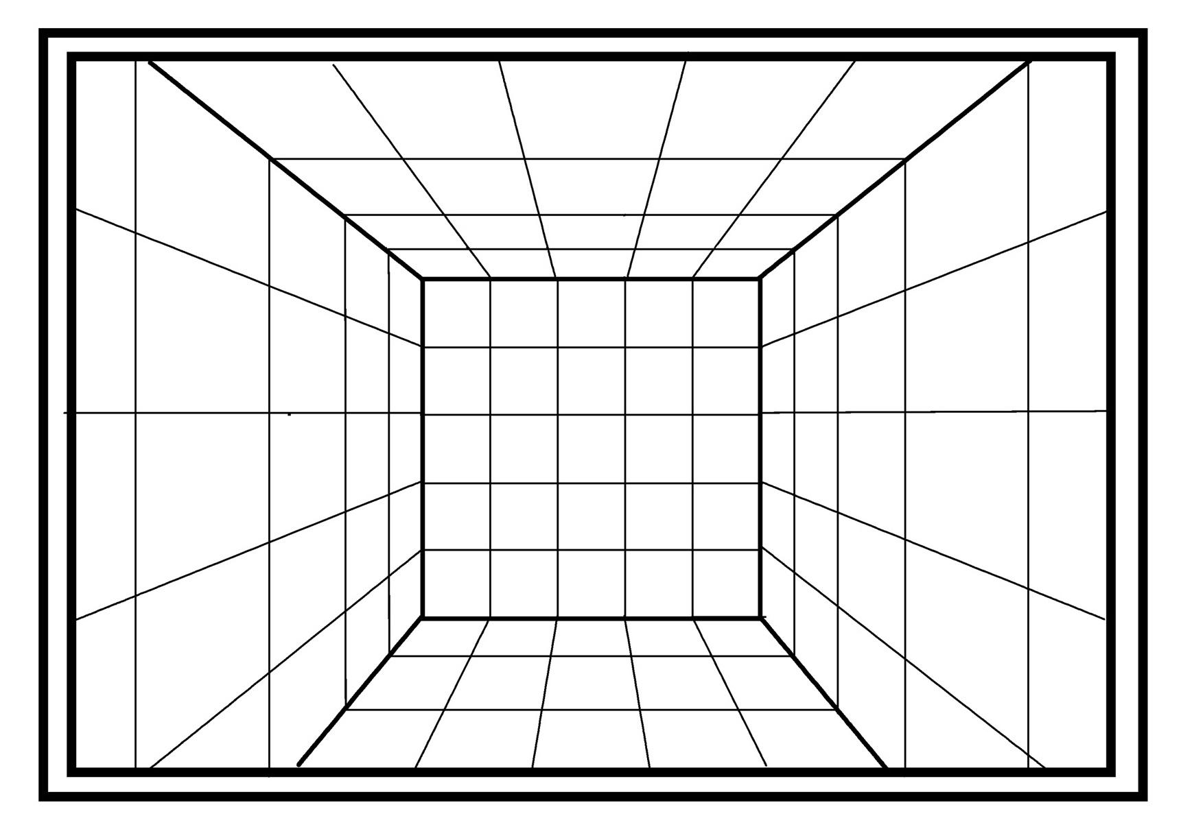 これが1点パースの部屋の見え方
