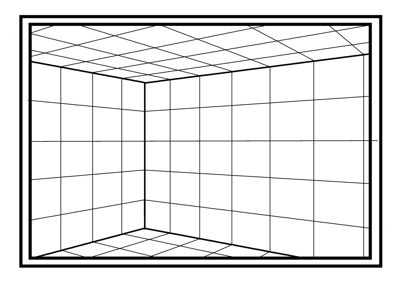 これが2点パースの箱部屋の見え方