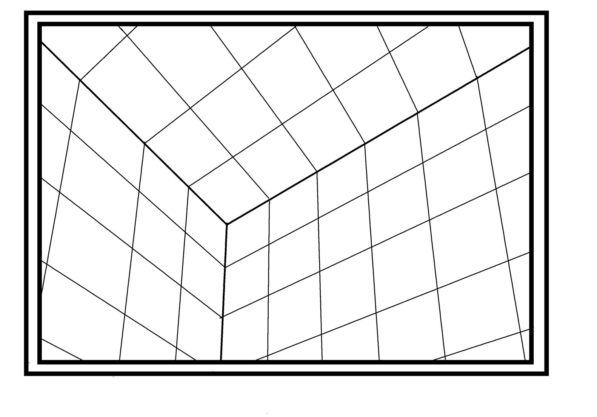 これが3点パースでの箱部屋の見え方