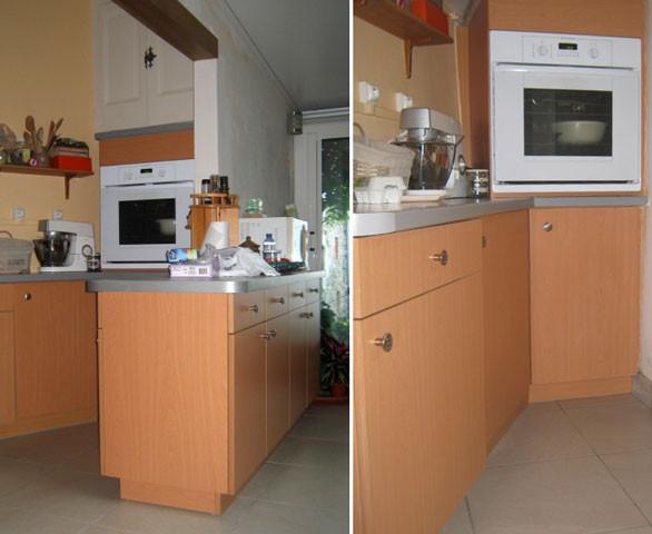 Ilot cuisine et meuble sur mesure pour cuisine.