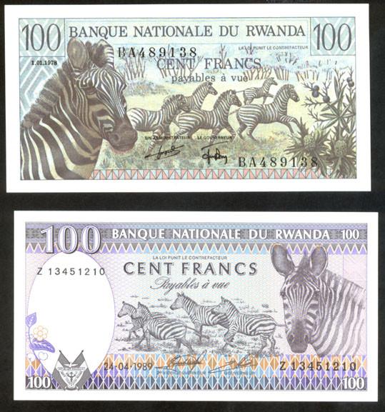 Ruanda 100 francos 1978 vs. 100 francos 1989 anversos