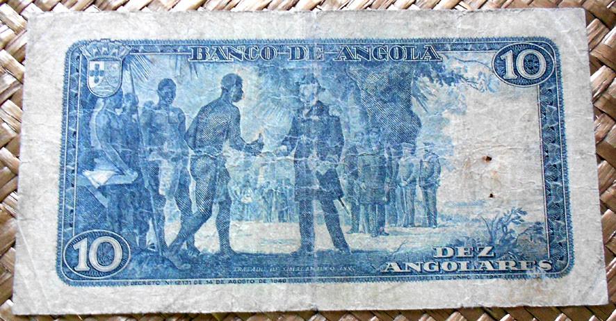 Angola colonial 10 angolares 1947 reverso