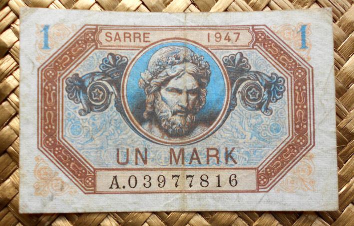 Saar/Sarre 1 marco 1947 anverso